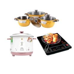 Bộ sản phẩm Goldsun Thịnh Vương : Bếp hồng ngoại (kèm vỉ nướng) + Nồi cơm 1.8L + Bộ 3 nồi 1 chảo inox sơn màu