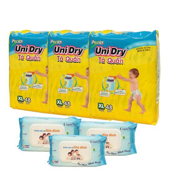 Combo 3 gói Tả Quần em bé Unidry và 3 gói khăn ướt gia đình 80 miếng