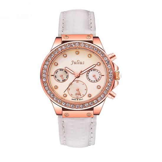 Đồng hồ nữ mặt tròn số đính đá màu trắng Julius JA-815