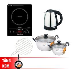 [GOLDSUN] Bếp hồng ngoại cảm ứng - GIFR-T11 (Kèm vỉ nướng)+2 nồi inox 3 đáy+Ấm đun 1.8L+chảo 20cm
