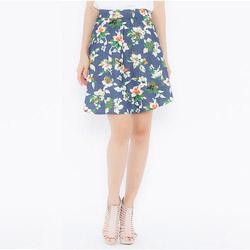 Chân váy jean xòe nhíu họa tiết hoa Leena 3VN04
