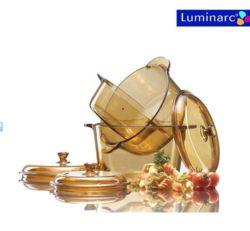 Bộ 3 nồi thủy tinh chịu nhiệt Luminarc (1L, 1.5L, 3L) + Bộ 1 bình 4 ly Luminarc( ngẫu nhiên)