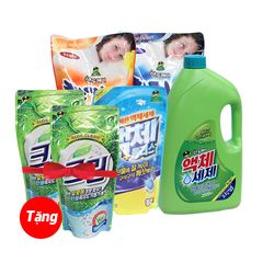 Bộ combo nước giặt (1 chai 2.5L+2 túi 0.8L), xả vải (2 túi 1.3L) Sandokkaebi