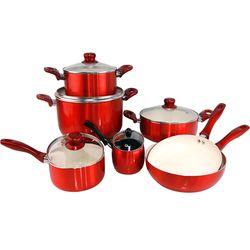 [Ilo Phú Quý]Bộ 3 nồi 1chảo Ceramic bếp từ ILO Phú Quý(1 nồi lẩu+1 nồi mini+1 chảo 26)(đỏ bóng)(25%)