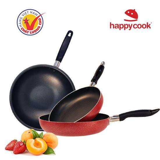 Bộ 3 chảo chống dính Happy Cook ( nồi inox 24cm)