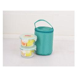 Bộ 2 hộp  Happy Cook  Glass tròn 420ml + 1 túi giữ nhiệt - JCG-02R