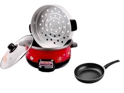 Nồi lẩu điện nấu cơm 3L Goldsun GAL-368 (kèm xửng hấp) + Chảo 24cm