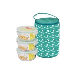 Bộ 3 hộp  Happy Cook  Glass tròn 420ml + 1 túi giữ nhiệt - JCG-03R