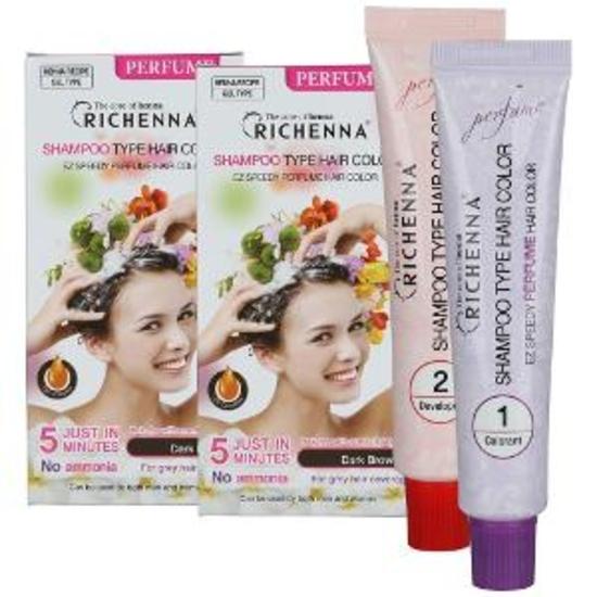 RICHENNA PERFUME-Bộ 3 hộp nhuộm tóc dạng dầu gội Richenna Perfume TẶNG 2 Hộp