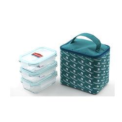 Bộ 3 hộp Happy Cook Glass chữ nhật 400ml + 1 túi giữ nhiệt - JCG-03RTG