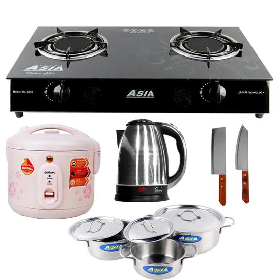 Bếp gas hồng ngoại Asia (8900) + Nồi cơm điện 1.2L + Bộ 03 nồi + Bình đun 1.8L + Bộ 02 dao (L)