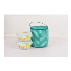 Bộ 2 hộp Happy Cook Glass tròn 580ml + 1 túi giữ nhiệt - JCGL-02RB