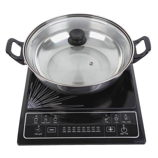 [SUNHOUSE-MN] Combo bếp điện từ(kèm nồi lẩu) + chảo từ 22cm+ Bộ 3 nồi114