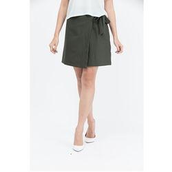 Chân váy Cocoxi đắp tà thắt nơ eo xanh rêu 17VT012