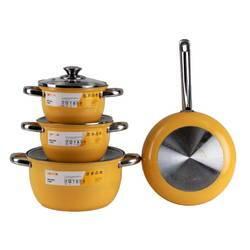 Bộ 4 nồi chảo inox 3 đáy Goldsun Mai Vàng ( Tặng máy xanh sinh tố 2 cối)