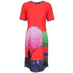Áo dài cách tân đỏ vườn hoa - ADCT46R