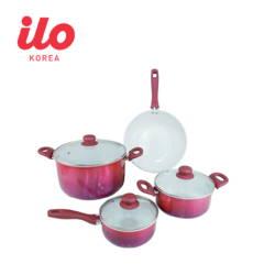 Bộ 3 nồi 1 chảo Ceramic  ILO Sắc Tím Ánh Kim(1 nồi lẩu+6 chén sứ+ NCĐ Goldsun 1.2L GDF12C1 )(tím)