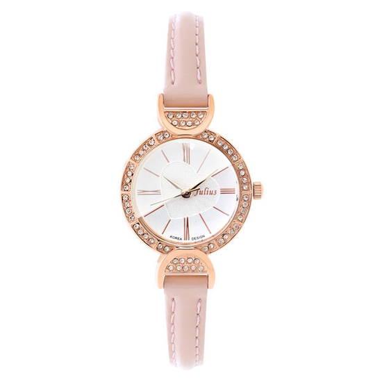 Đồng hồ nữ màu hồng phối trái tim Julius JA-779