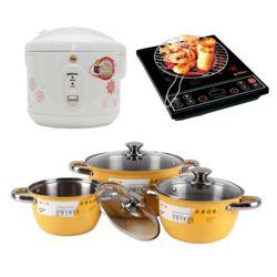 Bộ sản phẩm Goldsun Thịnh vượng : Bếp hồng ngoại + Nồi cơm 1.2L + Bộ 3 nồi  inox sơn màu.Live
