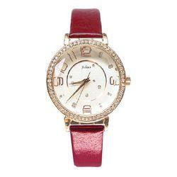 Đồng hồ nữ mặt tròn đính đá màu đỏ Julius JA-807