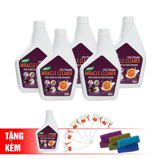 Bộ 5 chai tẩy rửa đa năng  Votemm Tặng 1 chai Votemm + 6 vòi xịt + 6 khăn lau đa năng