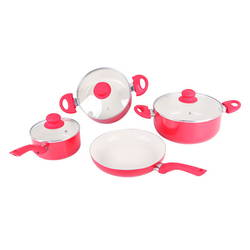Bộ 3 nồi + 1 chảo Ceramic ILO (1 nồi mini+1 chảo28cm+bếp gas hồng ngoại Rainy+2 sữa tắm Double R)R/Y
