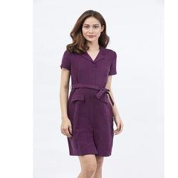Đầm kiểu sơ mi Cocoxi cổ vest thắt eo màu tím 17DT02_T