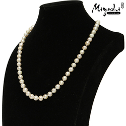 Miyoshi Bộ trang sức ngọc trai thật màu trắng (vòng cổ+ bông tai) Tặng 1 bộ trang sức mạ vàng