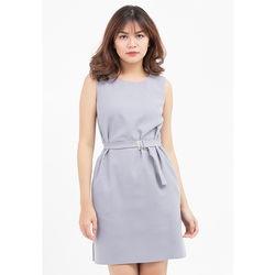 Đầm suông xám lưng thắt dây khuy 5DN02-X