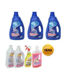 Bộ 3 chai nước giặt trắng sáng Kolortex + Tặng 2 xả vải, 1 lau sàn, 1 lau đa năng + áo mưa