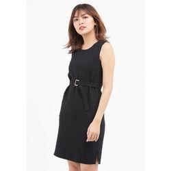 Đầm suông đen thắt dây khuy 5DN02-DE