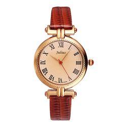 Đồng hồ nữ mặt tròn vàng phối dây nâu Julius JA-623