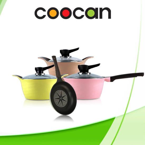 Bộ 3 nồi + 1 chảo chống dính Ceramic Coocan (4 dao Rainy +Bếp gas du lịch inox )