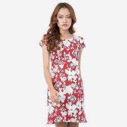 Đầm chữ A hoa đỏ lé trắng Leena 8DN013