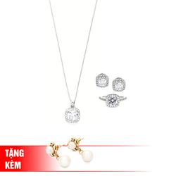Showme- Bộ trang sức Sắc Xuân (màu trắng) tặng 1 đôi bông tai mạ vàng 18K
