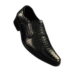 Giày nam chất liệu da bò thật dập vân cá sấu LAKA (màu đen)