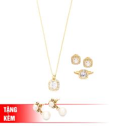Showme- Bộ trang sức Sắc Xuân (màu vàng) tặng 1 đôi bông tai mạ vàng 18K