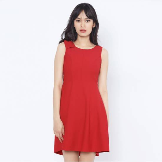 Đầm xòe  đỏ, vai đính nơ Leena 4DN02