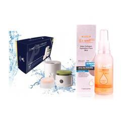 Combo Máy matxa rửa mặt và đánh phấn nền+Xịt khóang dưỡng ẩm bổ sung collagen