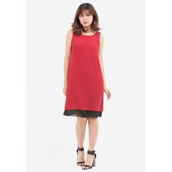 Đầm suông đỏ đen 2 tầng 5DN08