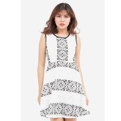 Đầm ren phối hoa trắng đen 5DN09