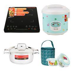 Combo sung túc Happycook: 1 nồi cơm điện + 1 bếp điện từ Tặng 1 nồi 20 cm + 1 lunch box
