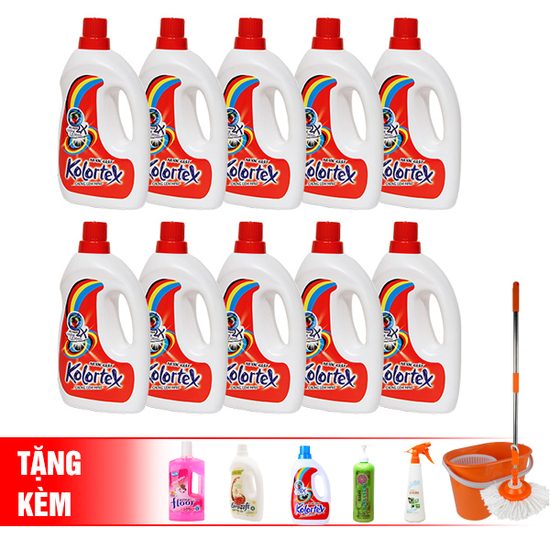 Bộ 10 chai nước giặt Eurochemm tặng1nước xả+1 lau đa năng+1 lau sàn+1 nước rửa chén+1giặt trắng sáng