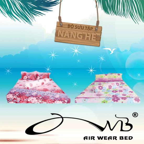 AIR WEAR BED- Combo 2 bộ chăn drap 1m6- Nắng hè + tặng 4 ruột gối nằm + 2 ruột gối ôm