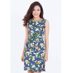 Đầm suông họa tiết xẻ bên thắt dây Leena 2DN02
