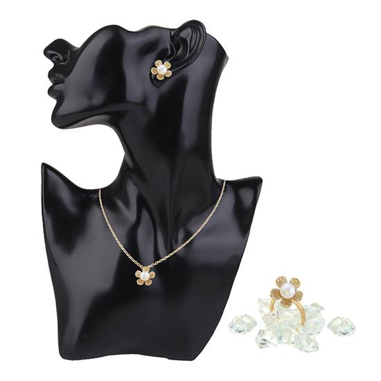 Vaadoo bộ trang sức ngọc trai mạ vàng- Hoa tình yêu tặng 1 mắt kính + 1 đồng hồ+ 1 túi xách