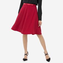 Chân váy đỏ xòe xéo lưng phối ruy băng đính nơ Leena 8VN04