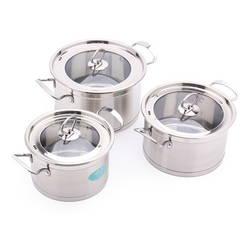 Bộ 3 nồi inox cao cấp bếp từ HappyLife + Dao 7 món + 2 thau