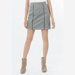 Chân váy chữ A họa tiết sọc trắng đen phối đen Leena 8VN05