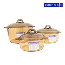 Bộ 3 nồi thủy tinh chịu nhiệt Luminarc (1L, 1.5L, 3L) + Bộ 1 bình 4 ly Luminarc